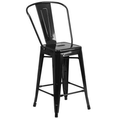 24.25 in. Black Bar Stool
