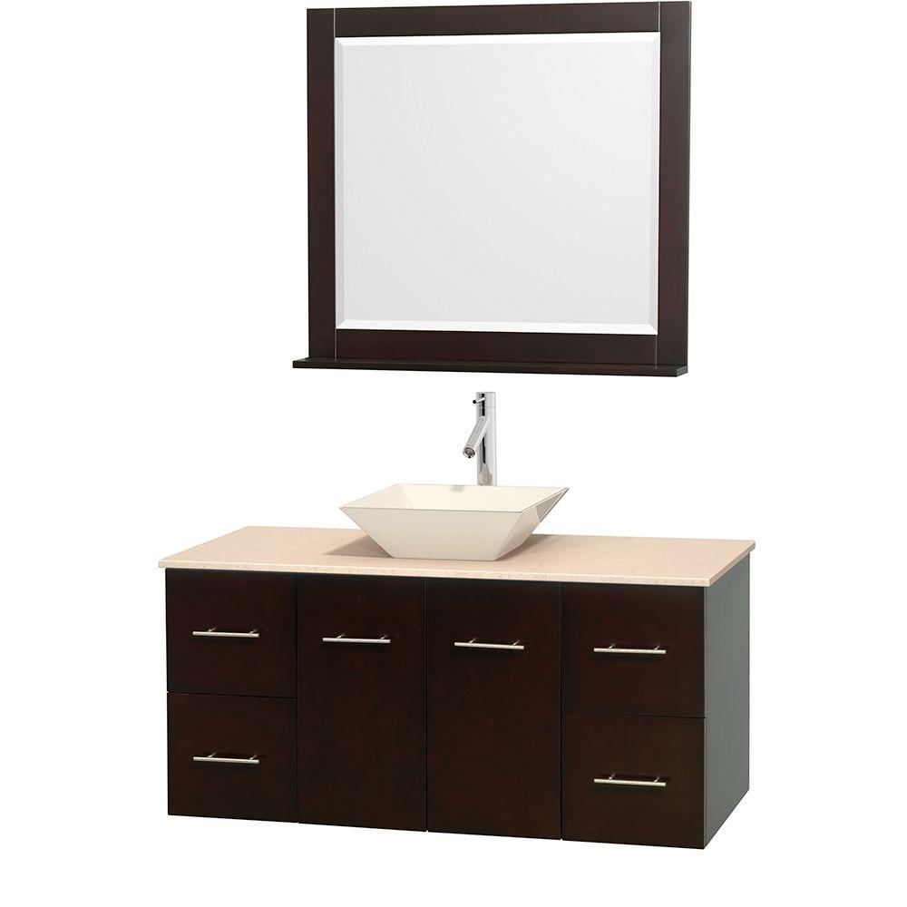 Wyndham Collection Centra 48 in. Vanity in Espresso with Marble Vanity Top in Ivory, Bone Porcelain Sink and 36 in. Mirror