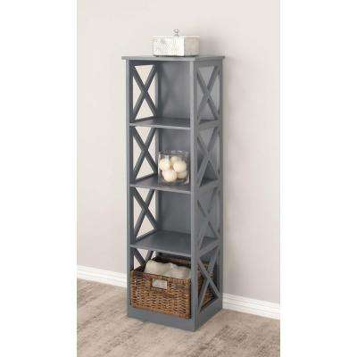 51 in. x 16 in. Modern 4-Tier Cube Shelving Unit in Gray
