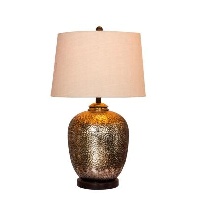 27.5 in. Hammertone Brown Mercury Glass and Oil Rubbed Bronze Metal Pot Table Lamp