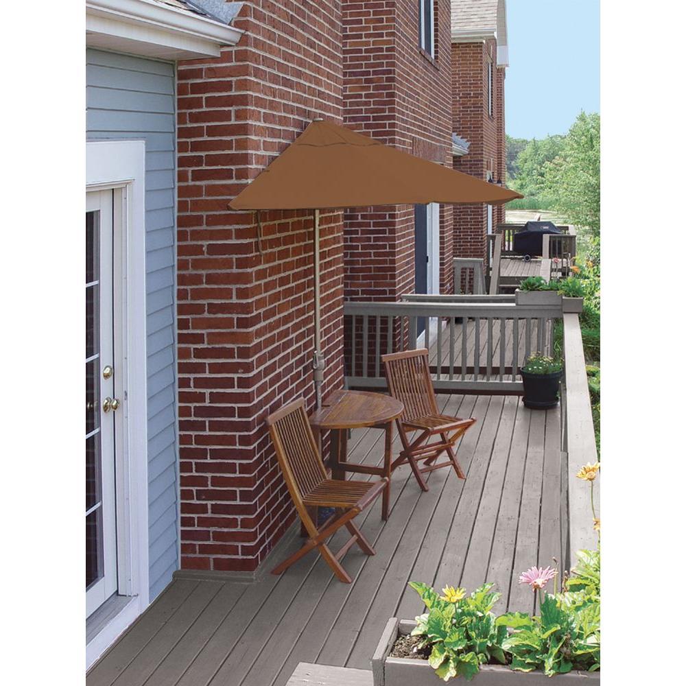Blue Star Group Terrace Mates Bistro Standard 5-Piece Patio Bistro Set with 9 ft. Teak Sunbrella Half-Umbrella