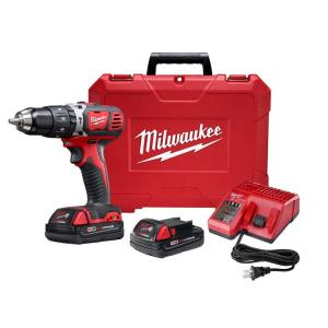 Milwaukee M18 Lithium-Ion Cordless 1/2 inch Hammer Drill Driver Kit w/(2) 1.5Ah Batteries, Charger & Hard Case by Milwaukee