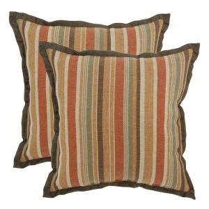 Hampton Bay 18 inch Cayenne Stripe Outdoor Toss Pillow with Flange (2-Pack) by Hampton Bay