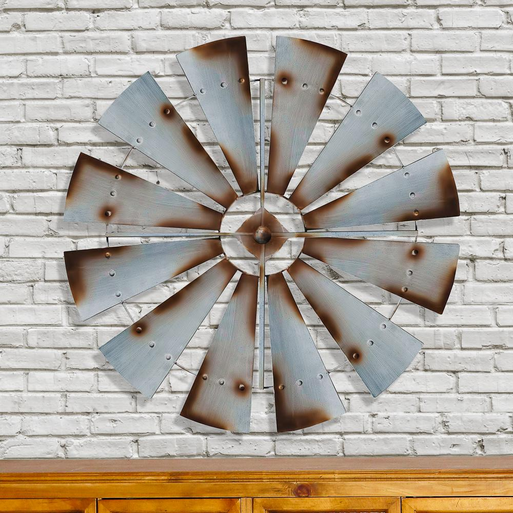 Metal Silver Rust Round Windmill Wall Decor-FH1057 - The ...