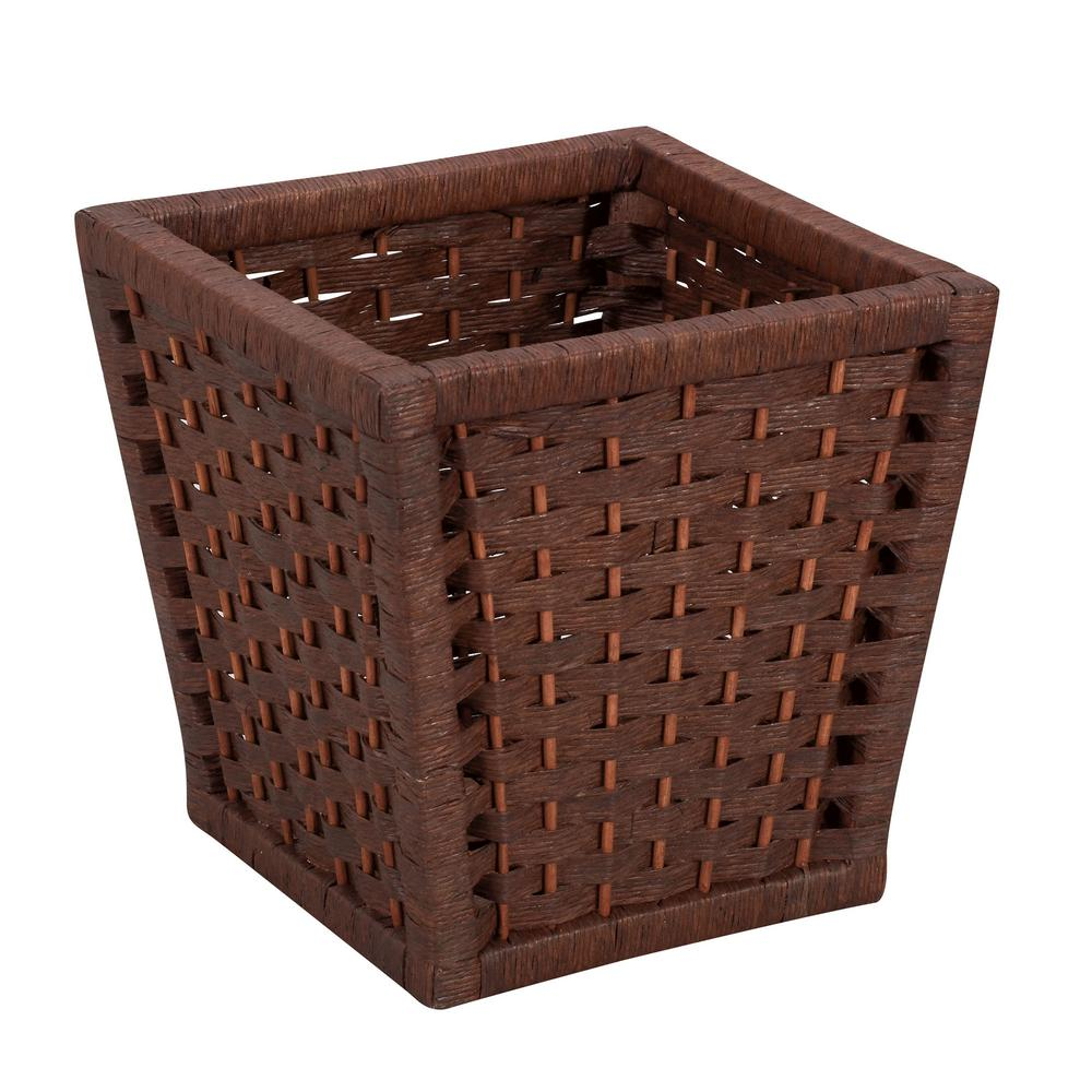 Paper Rope Indoor Waste Basket in Rich Brown Stained