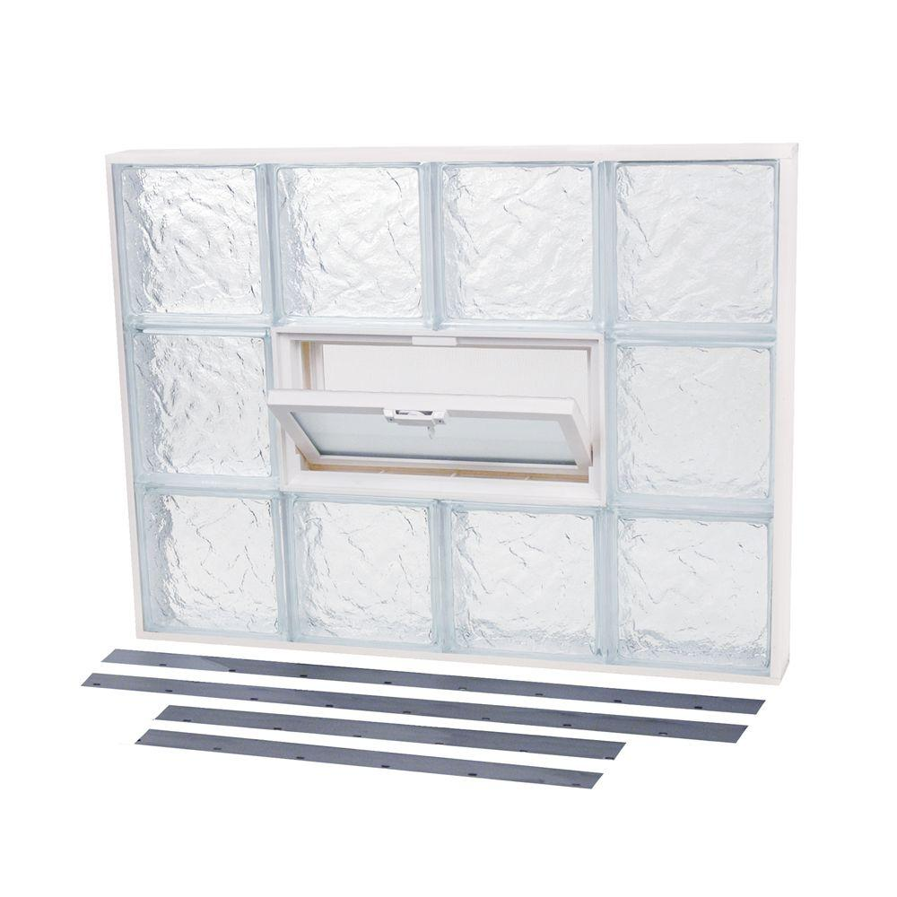 TAFCO WINDOWS 18.875 in. x 19.875 in. NailUp2 Vented Ice Pattern Glass Block Window