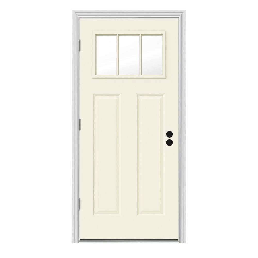 Jeld Wen Front Entry Doors: JELD-WEN 30 In. X 80 In. 3 Lite Craftsman Vanilla Painted