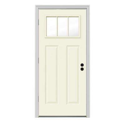 34 in. x 80 in. 3 Lite Craftsman Vanilla Painted Steel Prehung Right-Hand Outswing Front Door w/Brickmould