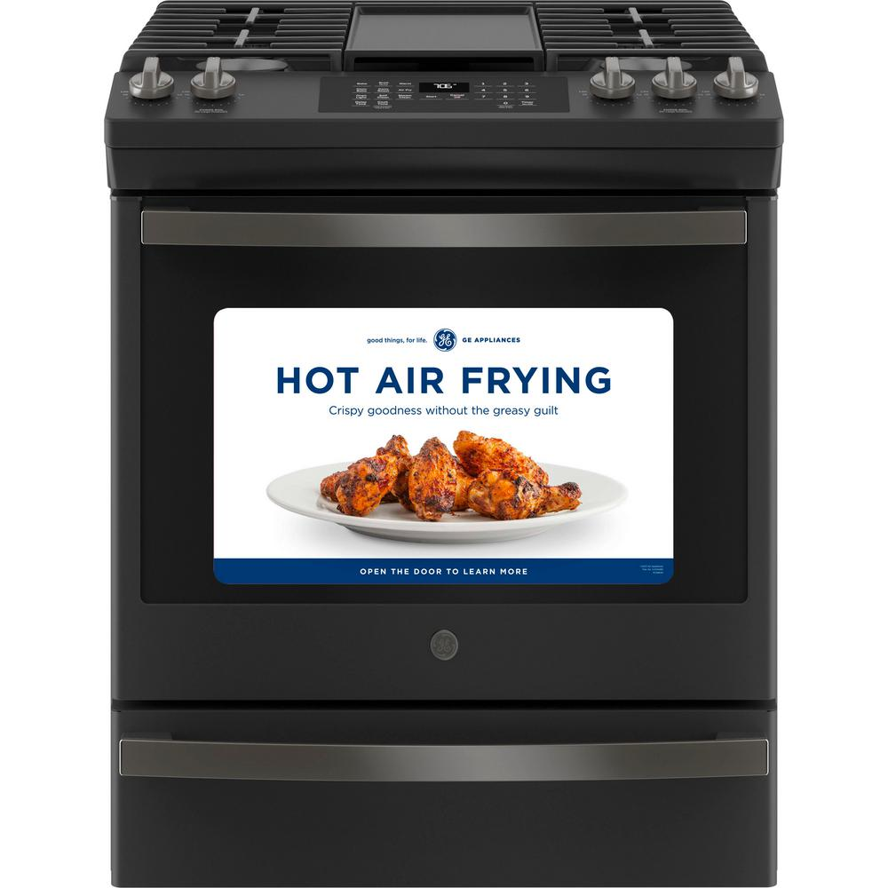 GE 30 in. 5.6 cu. ft. Slide-In Gas Range with Self-Cleaning Convection Oven and Air Fry in Black Slate