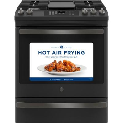 30 in. 5.6 cu. ft. Slide-In Gas Range with Self-Cleaning Convection Oven and Air Fry in Black Slate