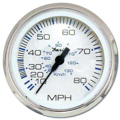 80 MPH Speedometer in Chesapeake White in Stainless Steel