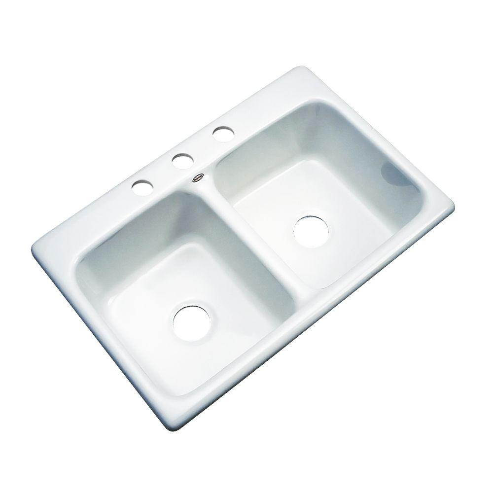thermocast newport drop in acrylic 33 in 3 hole double bowl kitchen rh homedepot com white granite double bowl kitchen sink white apron front kitchen sink double bowl