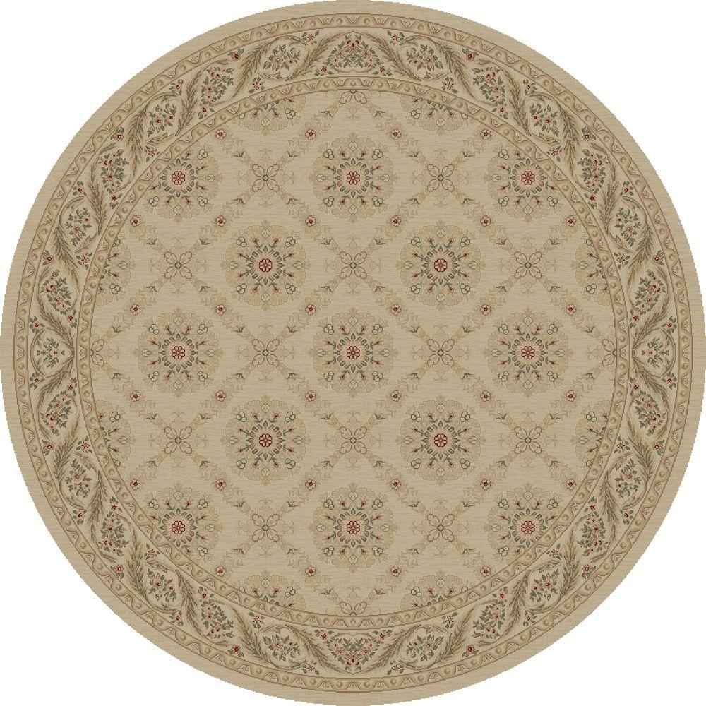 Concord Global Trading Imperial Aubosson Ivory 5 ft. Round Area Rug