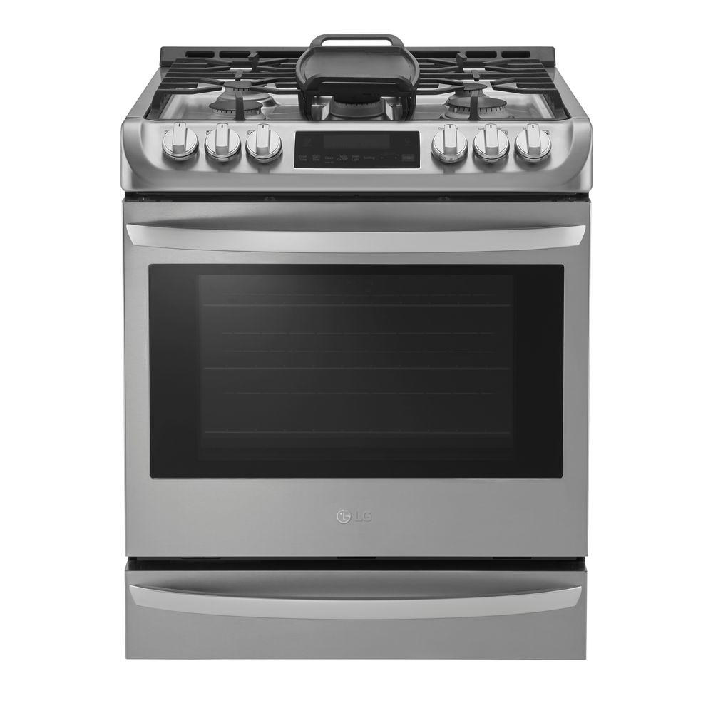 LGElectronics LG Electronics 6.3 cu. ft. Slide-In Gas Range with Probake Convection Oven in Stainless Steel, Silver