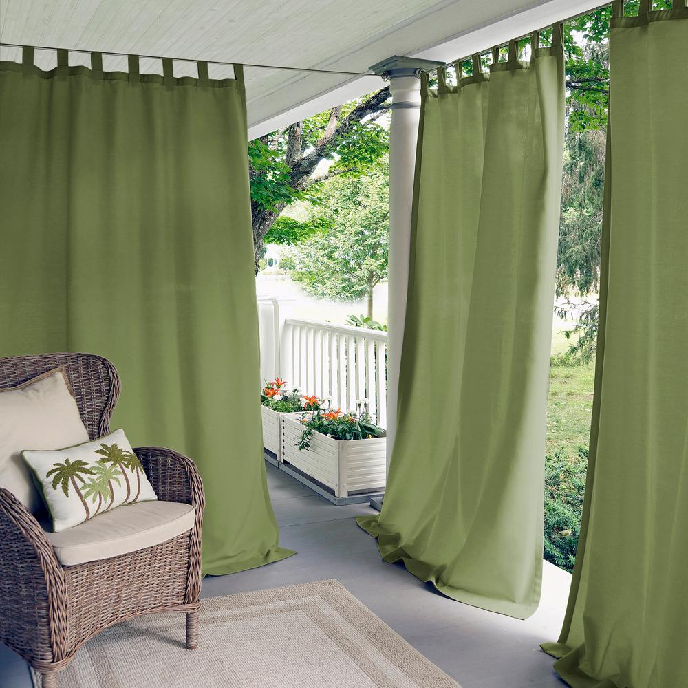 Matine Green Indoor/Outdoor Window Curtain Panel - 52 in. W x