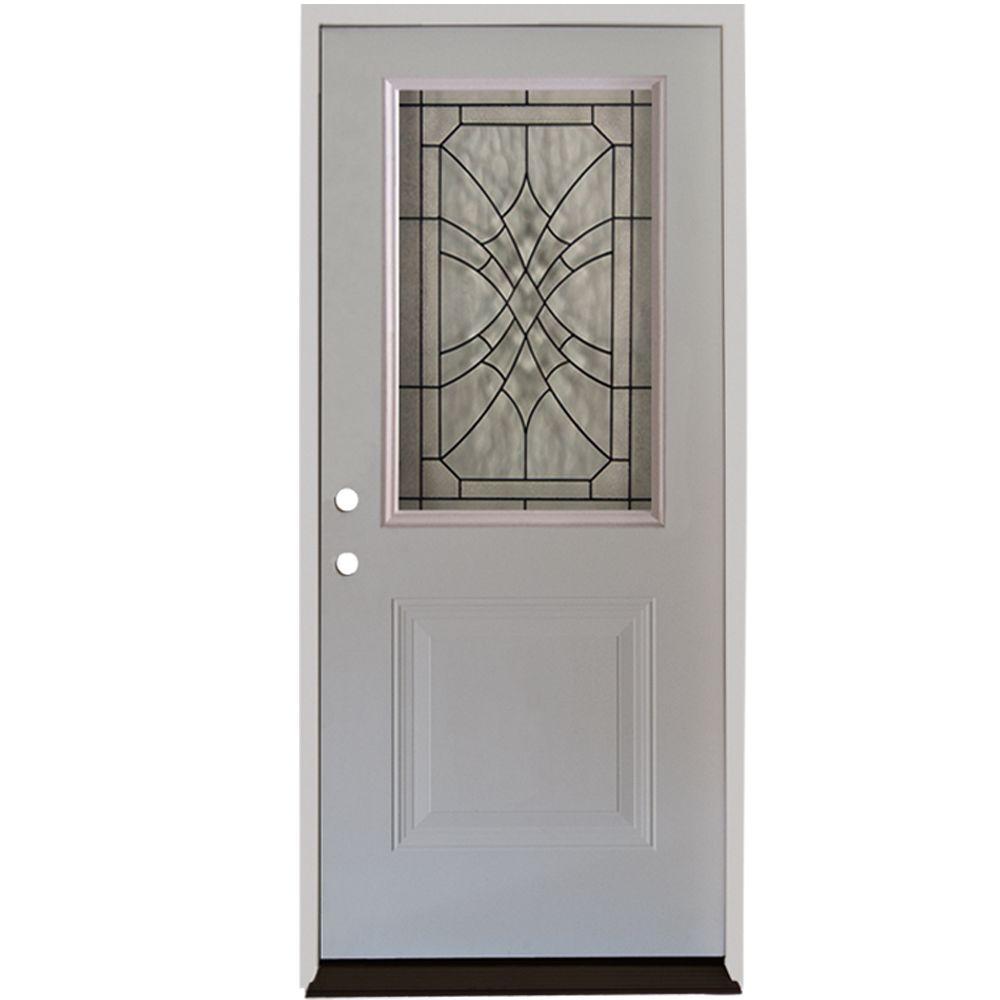 Steves & Sons 32 in. x 80 in. Webville 1/2 Lite Primed White Steel Prehung Front Door