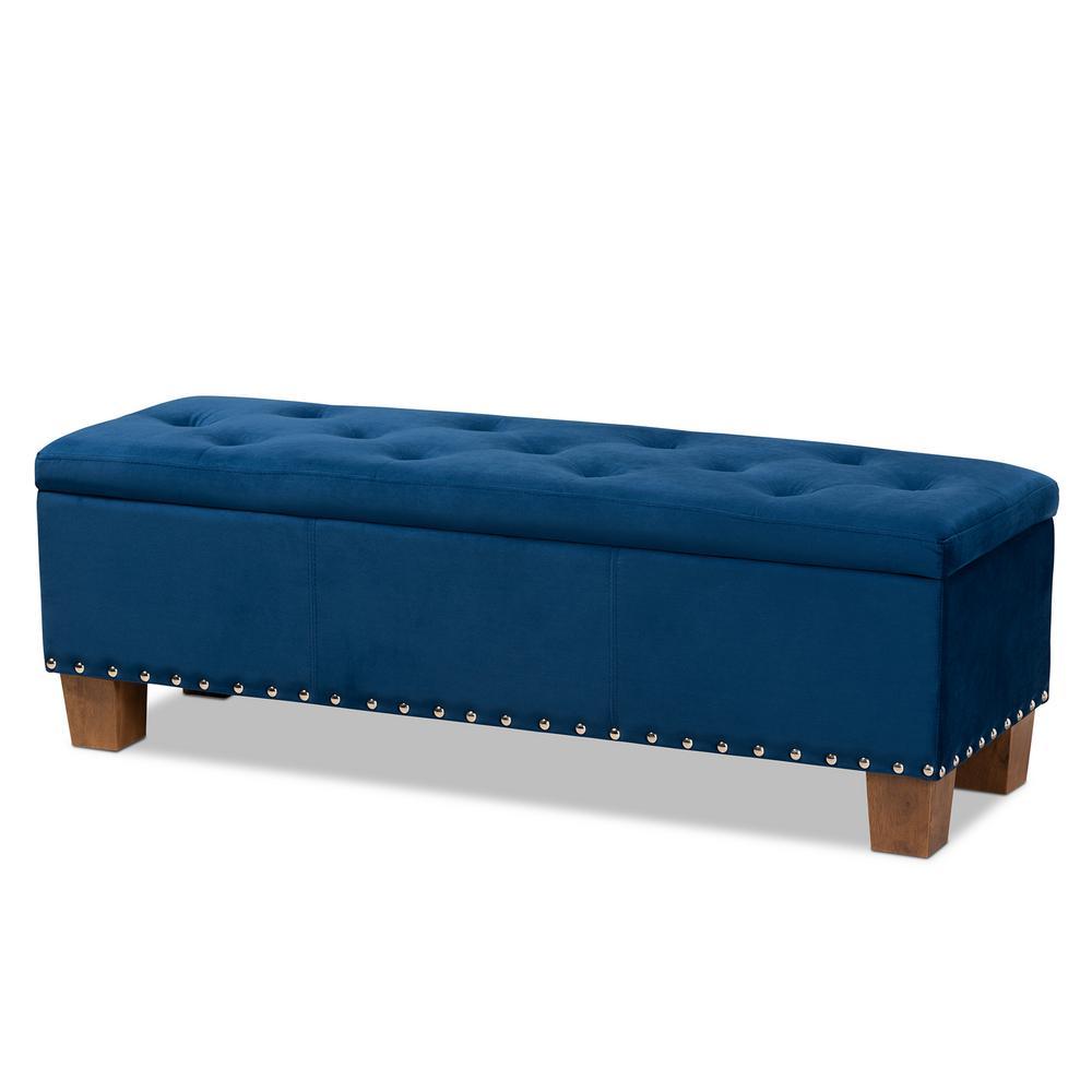 Enjoyable Noble House Chantelle Tufted Navy Blue Fabric Storage Spiritservingveterans Wood Chair Design Ideas Spiritservingveteransorg