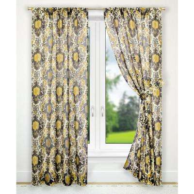 Tuscany Black Polyester Tailored Pair Curtains with Tiebacks - 70 in. W x 63 in. L
