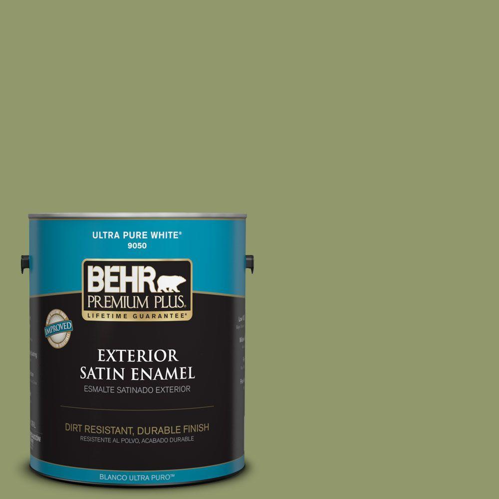 1-gal. #HDC-SP14-2 Exotic Palm Satin Enamel Exterior Paint