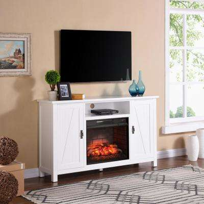 Fielder 58 in Farmhouse Style Infrared Electric Fireplace TV Stand in White