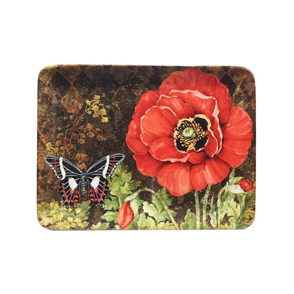 Poppy Garden 16 in. x 12 in. Multi-Colored Ceramic Rectangular Platter