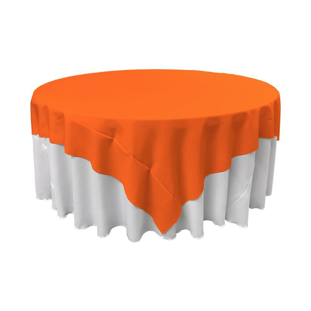 72 in. x 72 in. Orange Polyester Poplin Square Tablecloth
