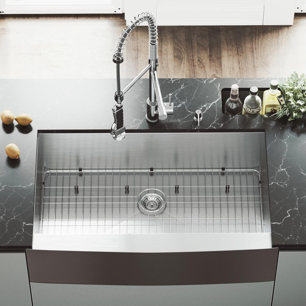 VIGO All-in-One 36 in. Camden Stainless Steel Single Bowl Farmhouse Kitchen Sink with Pull Down Faucet in Chrome, Satin was $699.9 now $559.9 (20.0% off)