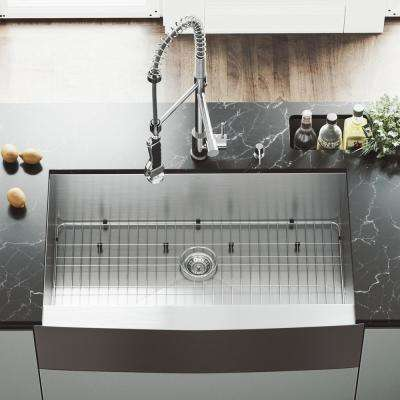 All-in-One Farmhouse Apron Front Stainless Steel 36 in. Single Bowl Kitchen Sink with Chrome Faucet