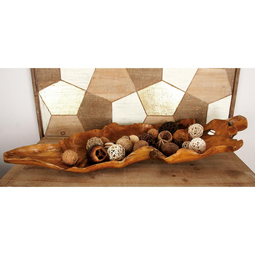 36 in. x 3 in. Brown/Tans Leaf-Shaped Tray