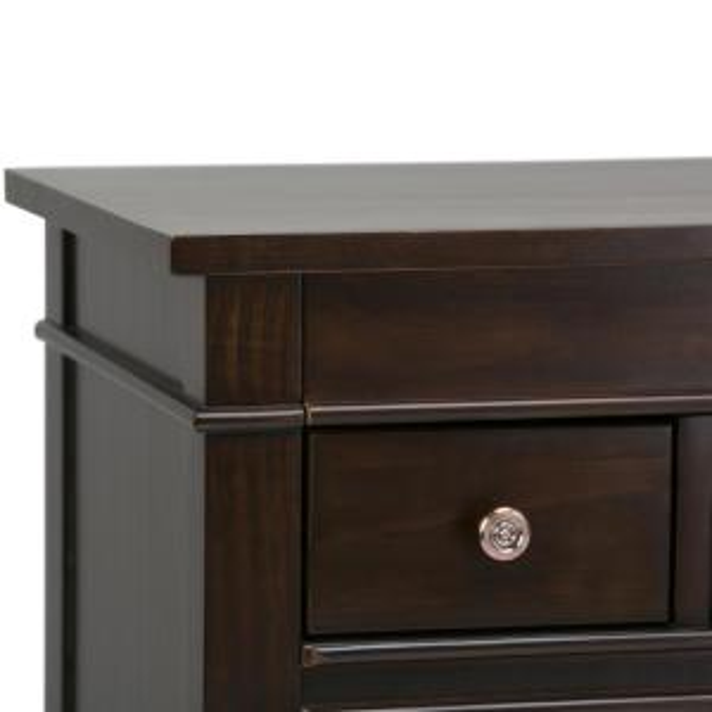 Simpli Home Carlton 6-Drawer Tobacco Brown Solid Wood 36 in ...