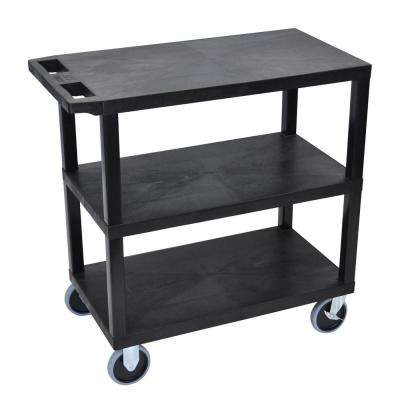 EC 35.25 in. W x 18 in. D x 35.5 in. H Utility Cart with 3-Flat Shelves and 5 in. Casters in Black