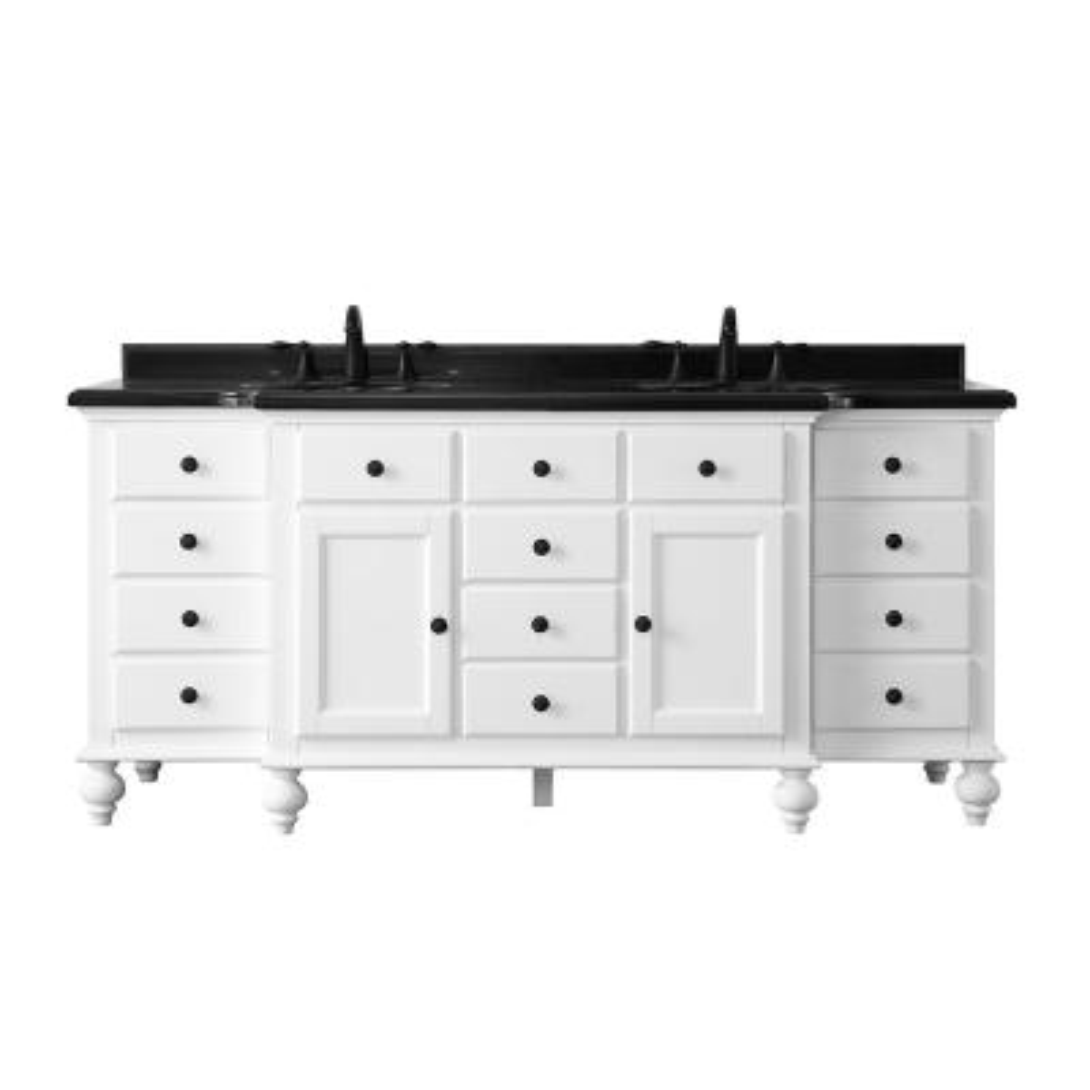 Heartside 72 in. W x 23 in. D Vanity in White with Granite Vanity Top in Black with White Basin