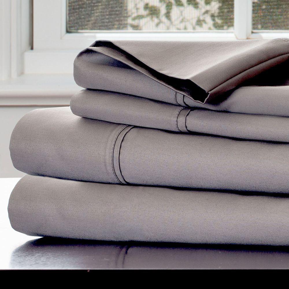 4-Piece Platinum Solid 1000 Thread Count Cotton Blend King Sheet Set