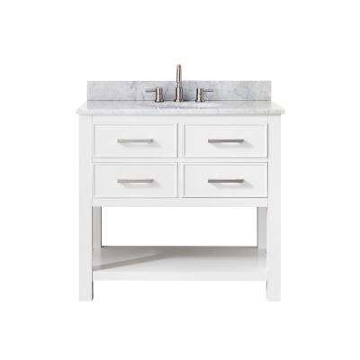 Brooks 37 in. W x 22 in. D x 35 in. H Vanity in White with Marble Vanity Top in Carrera White and White Basin