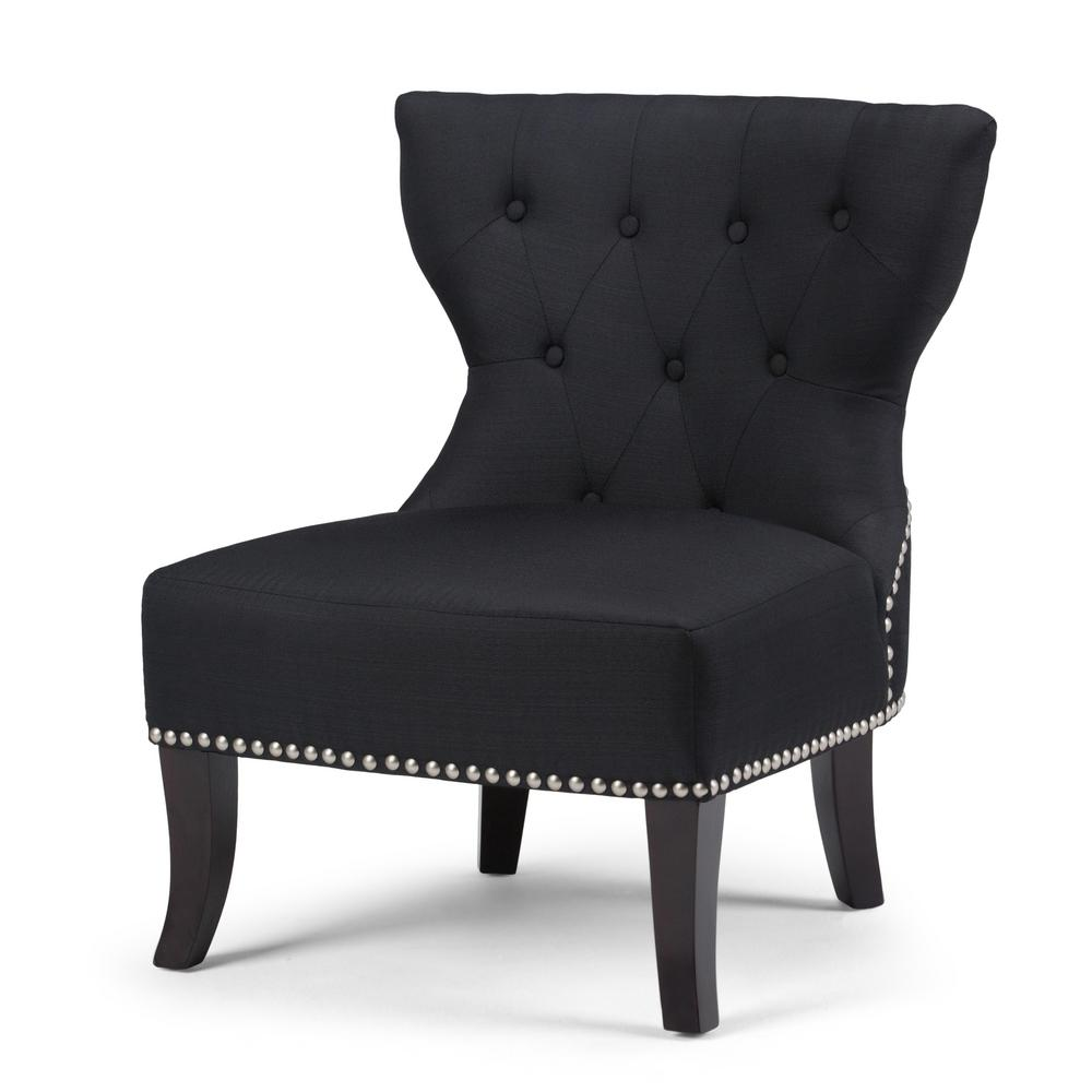 Kitchener charcoal linen blend tufted accent chair
