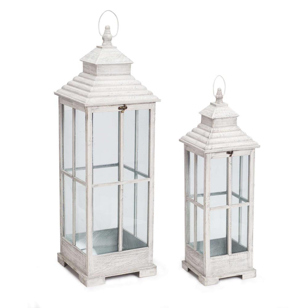 Antique White Lantern Set Of 2 70481 The Home Depot