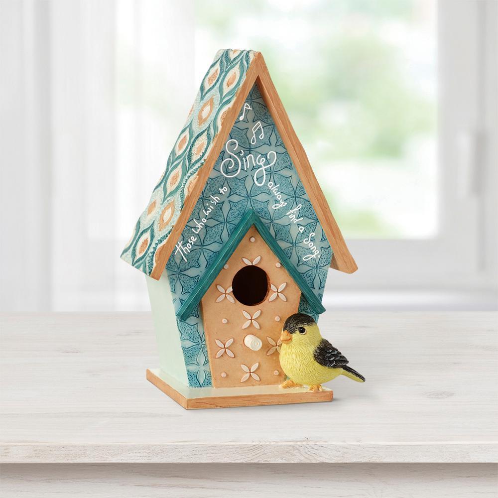 Indoor Birdhouse MDF/Resin Decorative Wall-Mounted Home Decor Figurine