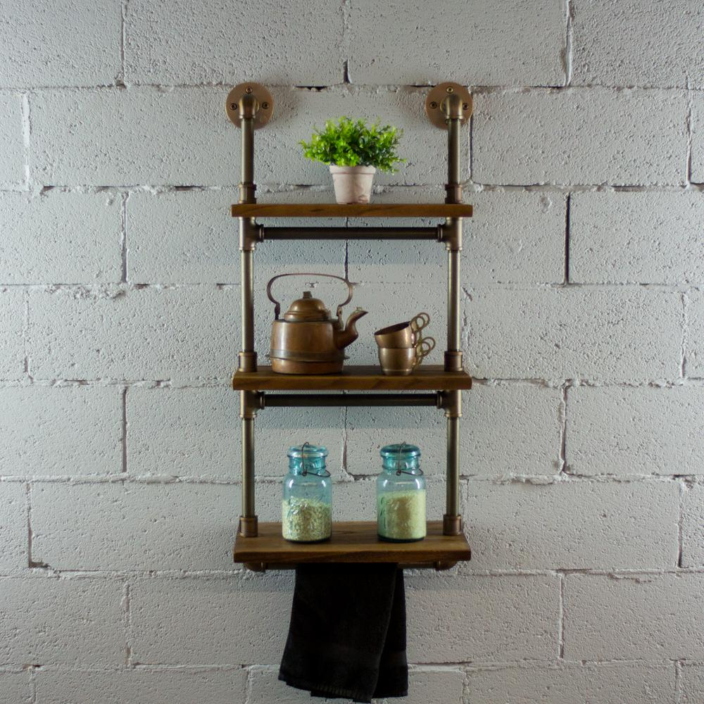 Brushed Brass Industrial Pipe Three Tiered Hanging Wall Shelf