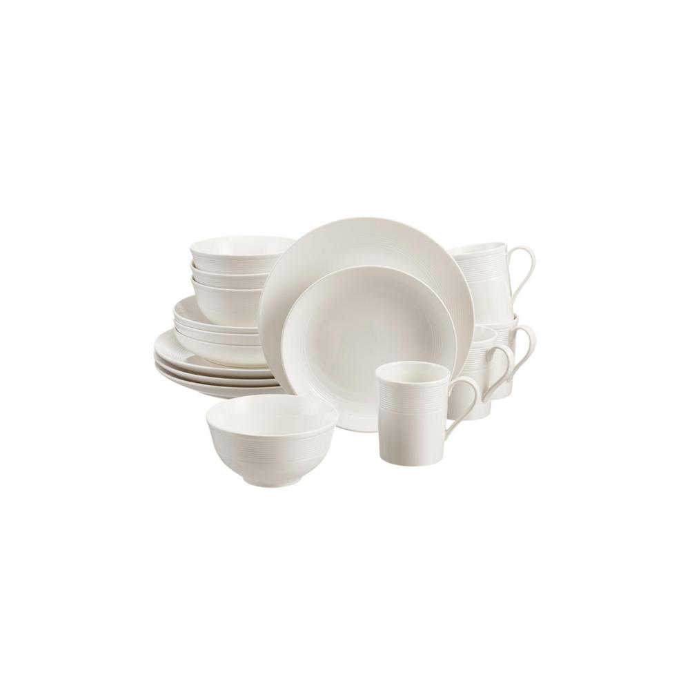 HomeDecoratorsCollection Home Decorators Collection Kempton 16-Piece White Stoneware Dinnerware Set (Service for 4)