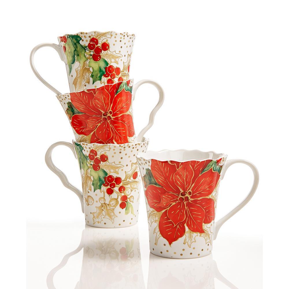 11 oz. Winter Confetti Red Mugs (Set of 4)