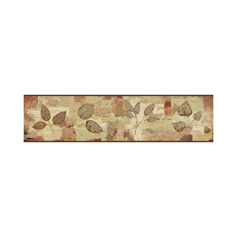 Pressed Leaves Border brown, green, gray, red Wallpaper Border