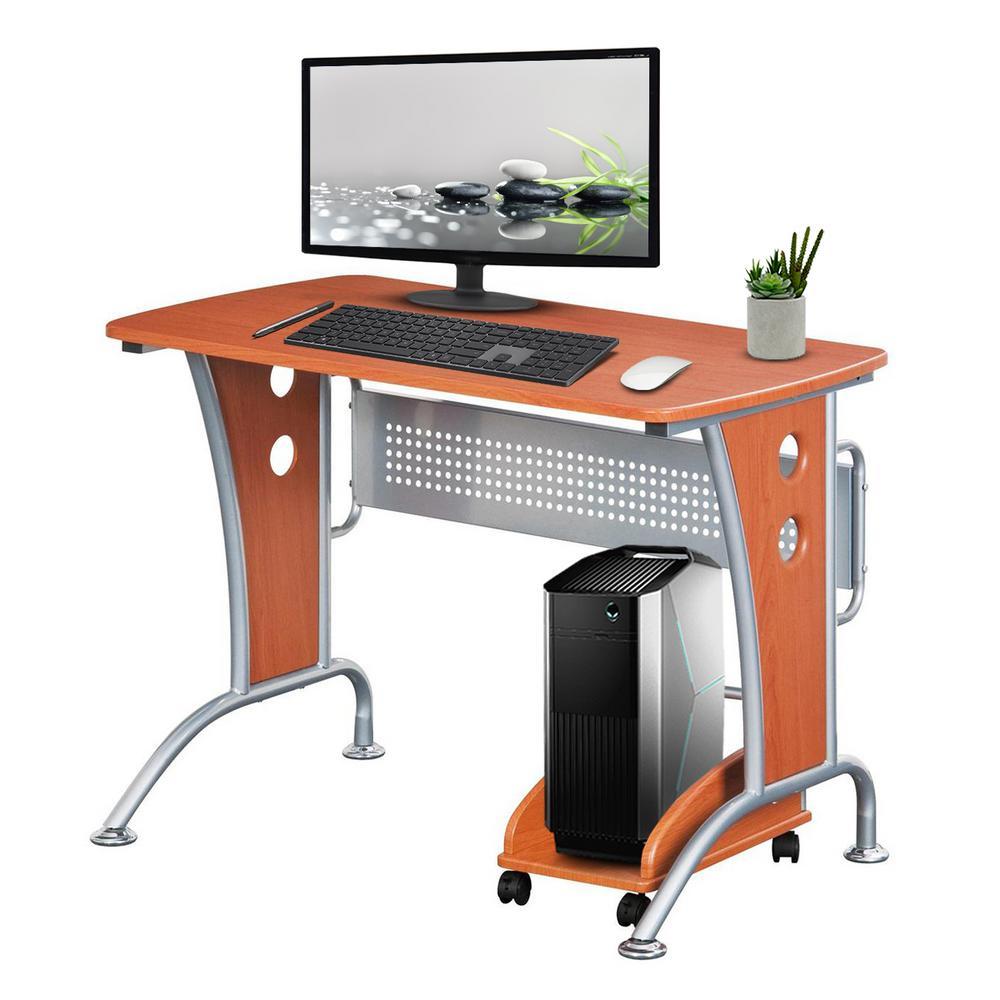 44 in. Rectangular Dark Honey/Chrome Computer Desk with Wheels