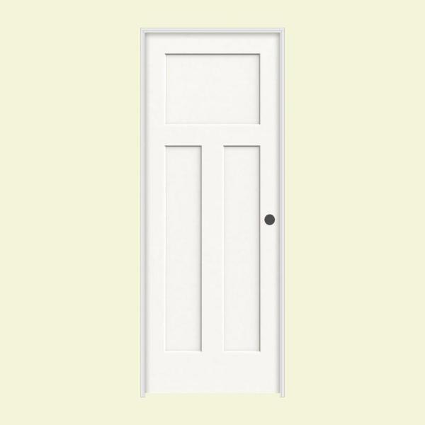 36 in. x 80 in. Craftsman White Painted Left-Hand Smooth Solid Core Molded Composite MDF Single Prehung Interior Door