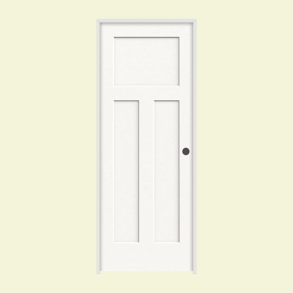 JELD-WEN 28 in. x 80 in. Craftsman White Painted Left-Hand Smooth Molded Composite MDF Single Prehung Interior Door
