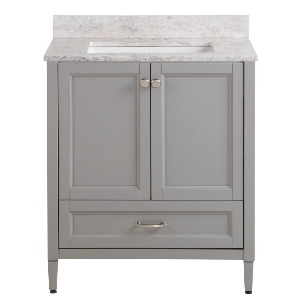 Home Decorators Collection Claxby 31 in. W x 22 in. D Bath Vanity in Sterling Gray with Stone Effect Vanity Top in Winter Mist with White Sink