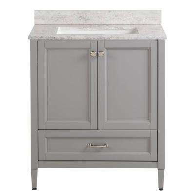 Claxby 31 in. W x 22 in. D Bath Vanity in Sterling Gray with Stone Effect Vanity Top in Winter Mist with White Sink