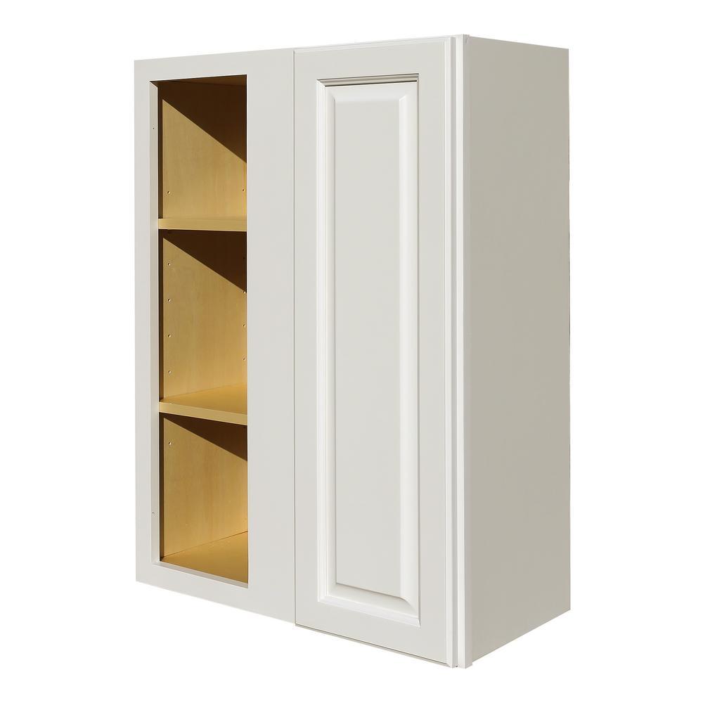 LIFEART CABINETRY La  Newport Ready to Assemble 27x36x12 in  1-Door Wall  Blind Corner Cabinet with 2-Shelves in Classic White