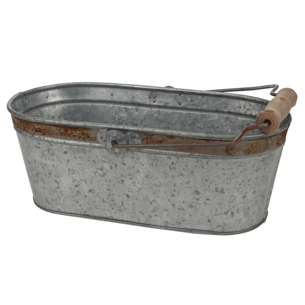 12 in. x 5.5 in. Galvanized Bucket with Rust Trim and