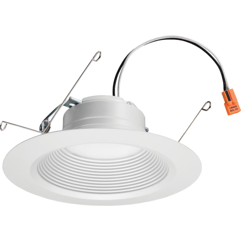 Lithonia Lighting E Series 5 Or 6 In Matte White 5000k Color Temperature Dimmable Integrated Led Recessed Downlight Retrofit Baffle Trim