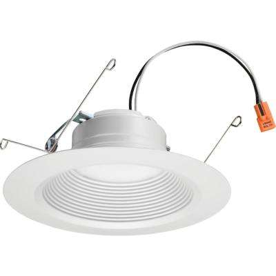 E-Series 5 or 6 in. Matte White 5000K Color Temperature Dimmable Integrated LED Recessed Downlight Retrofit Baffle Trim